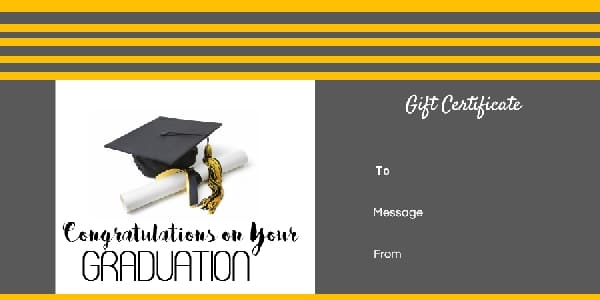graduation gift certificate template