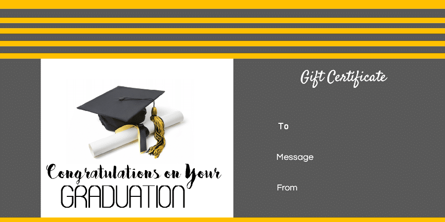 Graduation Gift Certificate Template Free Customizable