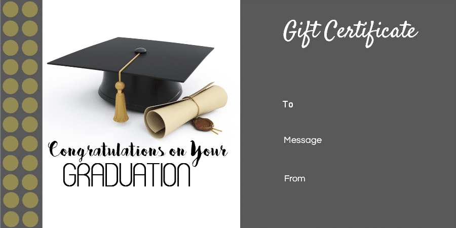 Graduation Gift Certificate Template Free Amp Customizable