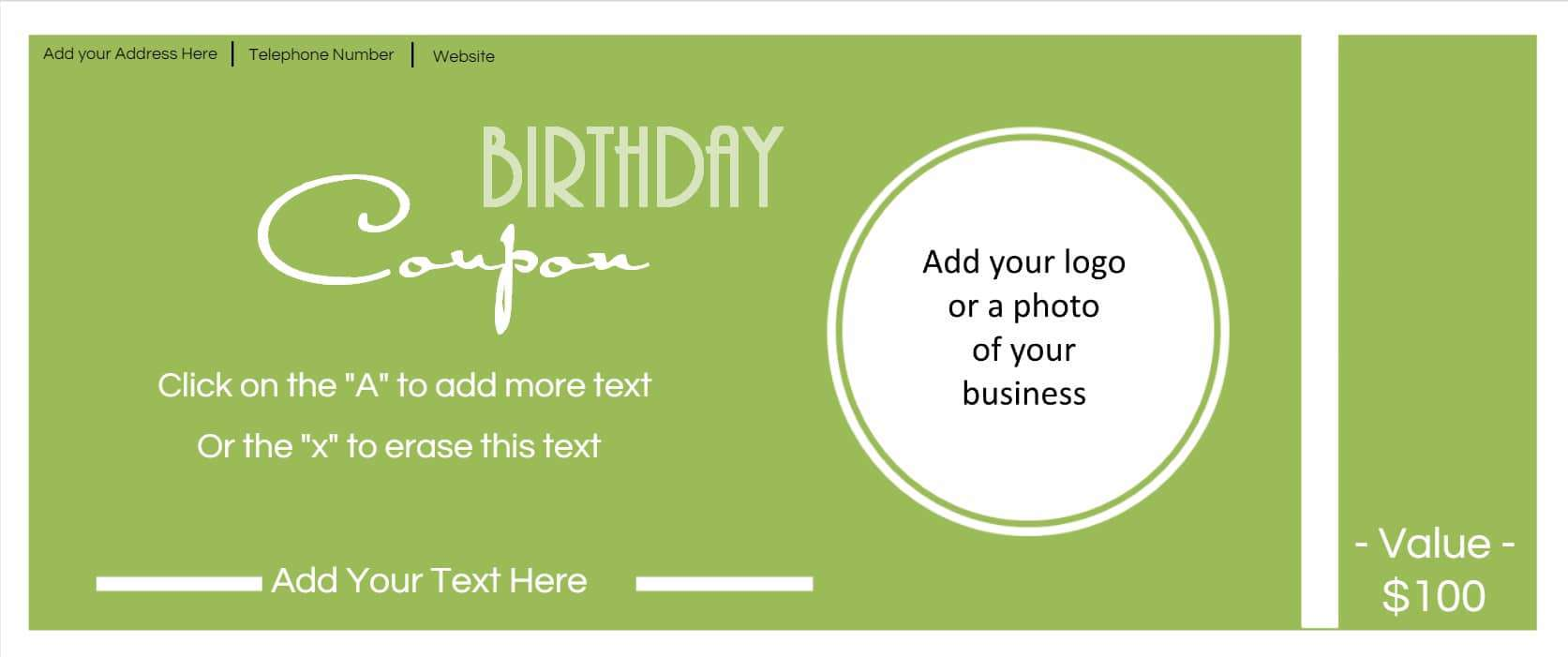 ... Birthdays Are Then It Is Time To Add That Question To The Sign Up Form.  You Can Also Create An Anniversary Coupon To Send Out To Your Customers On  Their ...  Birthday Coupon Templates Free Printable
