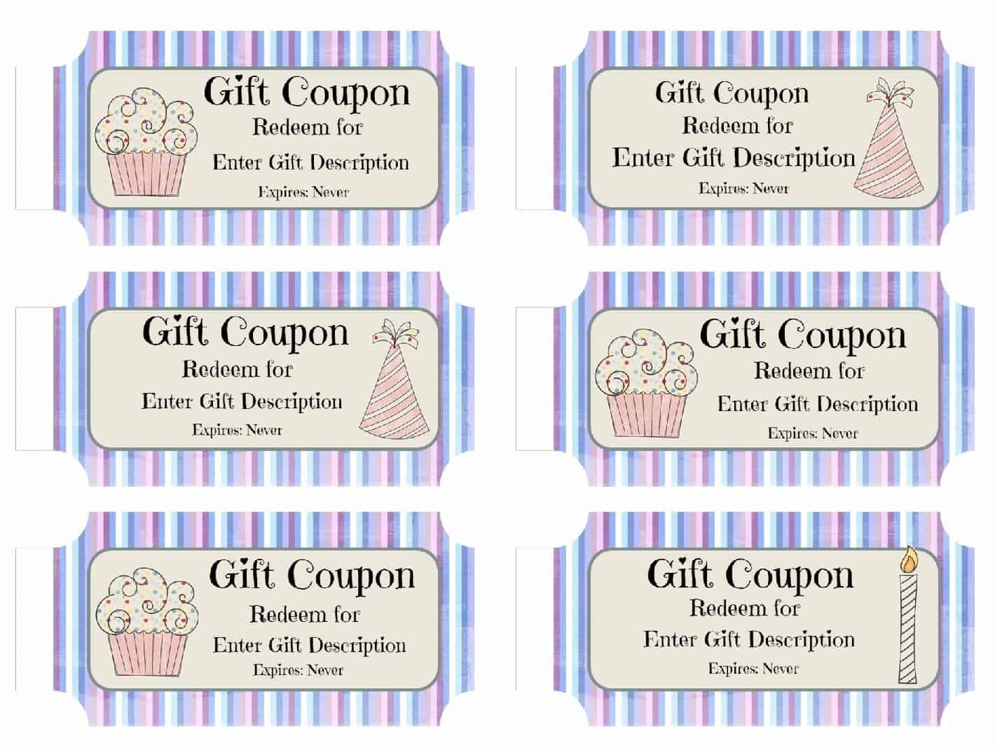 Birthday Gift Coupon Template Inspiration Free Custom Birthday Coupons  Customize Online & Print At Home