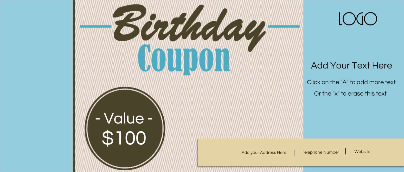 Free Custom Birthday Coupons - Customize Online & Print at Home