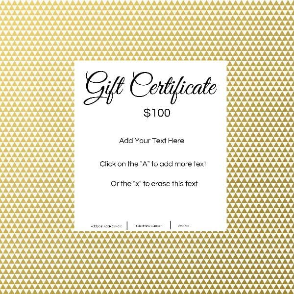 Gift certificate template with customizable background and for Free customizable gift certificate template
