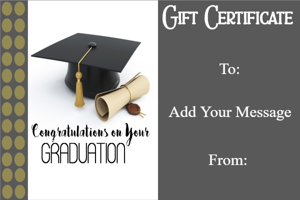 Graduation gift certificate template free