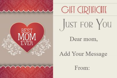 Blank Mother's Day Gift Certificate