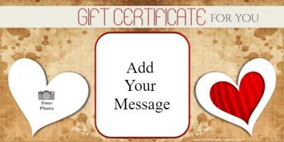 free valentine gift certificates
